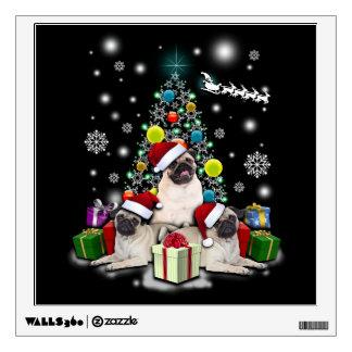 Merry Christmas with Pug Dog Animal Wall Sticker