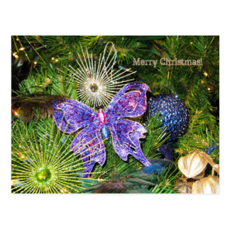 Merry Christmas with Purple Butterfly Postcard
