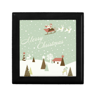 Merry Christmas with Santa Claus, Rudolfs, in snow Jewelry Box