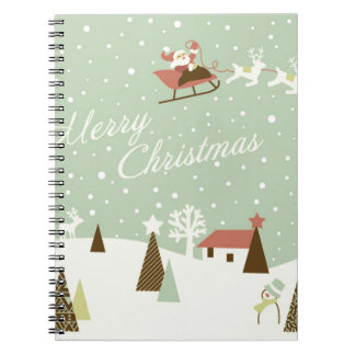 Merry Christmas with Santa Claus, Rudolfs, in snow Notebook