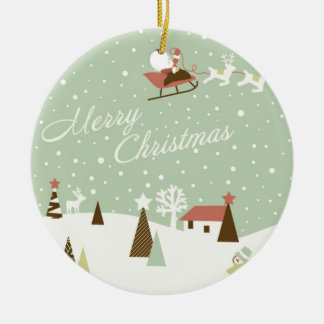Merry Christmas with Santa Claus, Rudolfs, in snow Round Ceramic Ornament