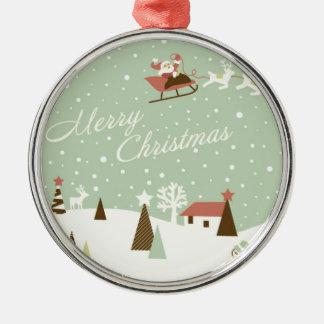 Merry Christmas with Santa Claus, Rudolfs, in snow Silver-Colored Round Ornament