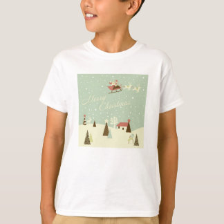 Merry Christmas with Santa Claus, Rudolfs, in snow T-Shirt
