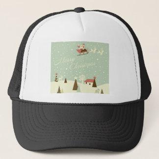 Merry Christmas with Santa Claus, Rudolfs, in snow Trucker Hat