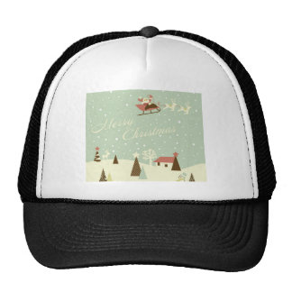 Merry Christmas with Santa Claus, Rudolfs, in snow Trucker Hat
