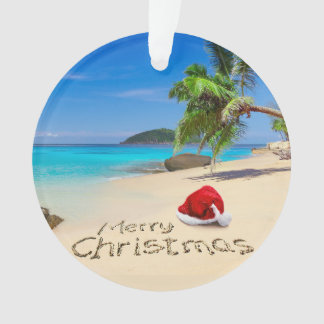 Merry Christmas With Santa Hat In The Tropics Ornament