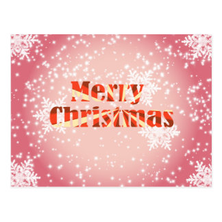 Merry Christmas with snowflakes and stars postcard