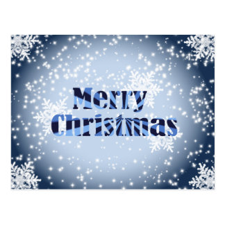 Merry Christmas with snowflakes blue postacrd Postcard