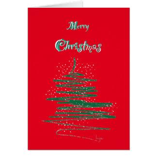 Merry Christmas with Tree and Snowflake Custom Card