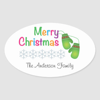 Merry Christmas with Winter Mittens Oval Sticker