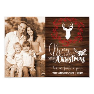 Merry Christmas wood Christmas Card