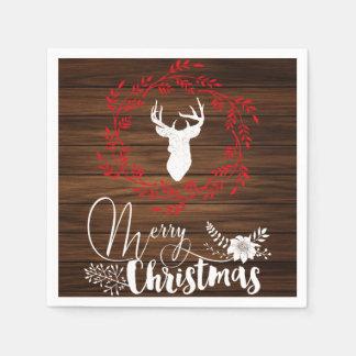 Merry Christmas wood holiday napkins Disposable Napkin