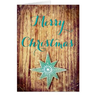 Merry Christmas Wood Texture Christmas Star Card
