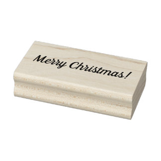 Merry Christmas Wooden Block Mounted Rubber Stamp