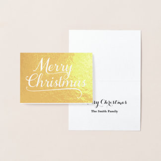 Merry Christmas Word Art Gold Foil Card