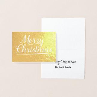 Merry Christmas Word Art Gold Foil Card