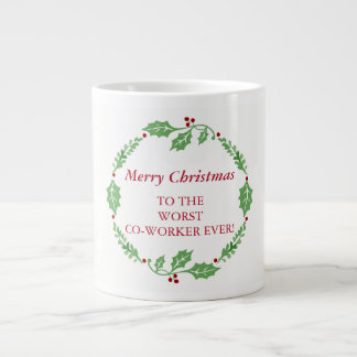 Merry Christmas Worst Co-Worker Secret Santa Large Coffee Mug