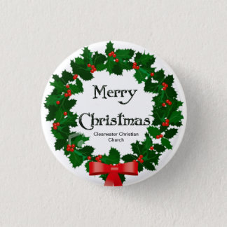 Merry Christmas Wreath 1 Inch Round Button