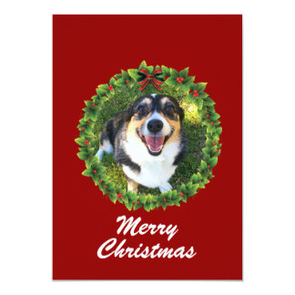 Merry Christmas Wreath Custom Pet Photo Card