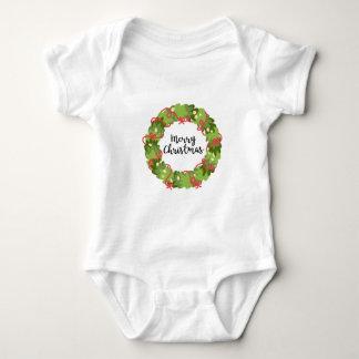 MERRY CHRISTMAS WREATH, Cute Baby Bodysuit