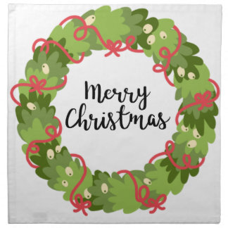 MERRY CHRISTMAS WREATH, Cute Napkin
