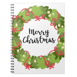 MERRY CHRISTMAS WREATH, Cute Notebooks