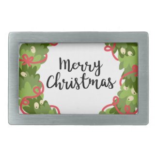 MERRY CHRISTMAS WREATH, Cute Rectangular Belt Buckles