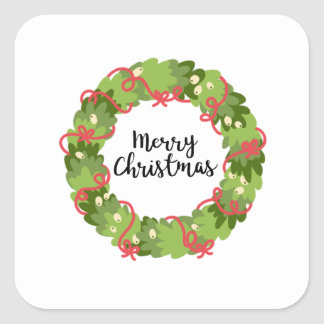 MERRY CHRISTMAS WREATH, Cute Square Sticker