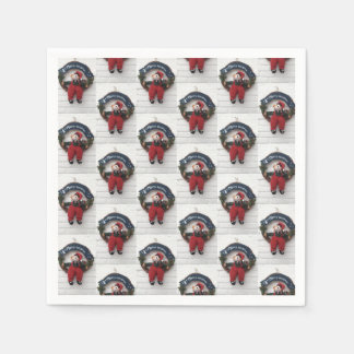 Merry Christmas Wreath Cute Teddy Bear Pattern Paper Napkins