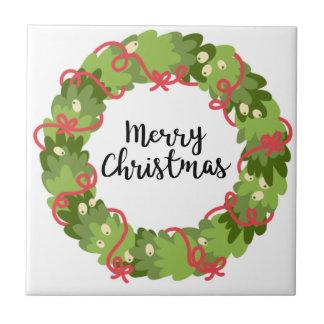 MERRY CHRISTMAS WREATH, Cute Tile