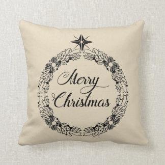 Merry Christmas Wreath Decorative Throw Pillow