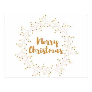 Merry Christmas wreath - golden Postcard