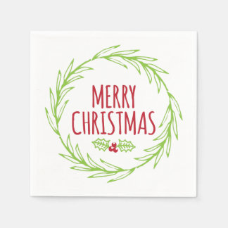 Merry Christmas Wreath Holiday Napkins Paper Napkins