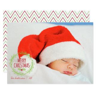 Merry Christmas Wreath Holiday Photo Card