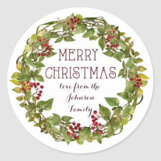 Merry Christmas wreath holiday sticker labels