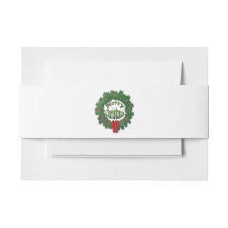 Merry Christmas Wreath Invitation Belly Band