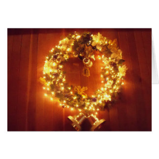 Merry Christmas Wreath Lights bell Greeting Card