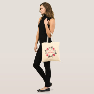 Merry Christmas Wreath Modern Typography Tote Bag