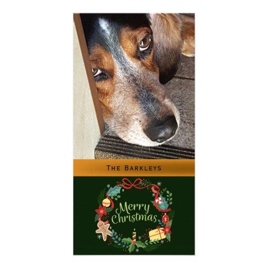 Merry Christmas Wreath Pet Photo Card