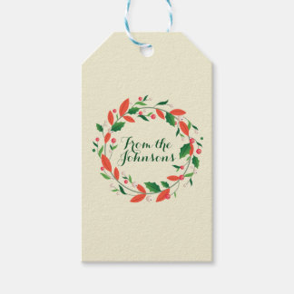 Merry Christmas Wreath Simple Traditional Ivory Gift Tags