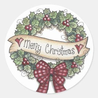 Merry Christmas Wreath Sticker