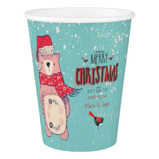 Merry Christmas- X-mas Bear and editable Text on Paper Cup