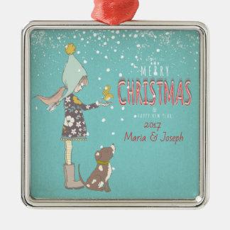 Merry Christmas- X-mas Girl Dog editable Text on Metal Ornament