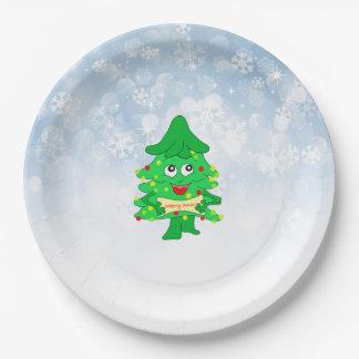 merry Christmas Xmas Tree Paper Plate