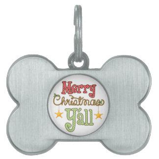 Merry Christmas Y'all Pet ID Tag