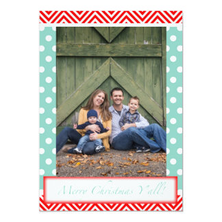 """Merry Christmas Y'all - Red & Blue Combo 5"""" X 7"""" Invitation Card"""