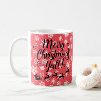Merry Christmas Y'all Silhouette Snowflakes Mug