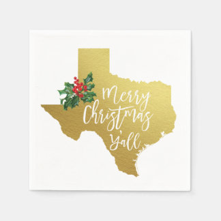 Merry Christmas Y'all Texas State Napkins Disposable Napkin