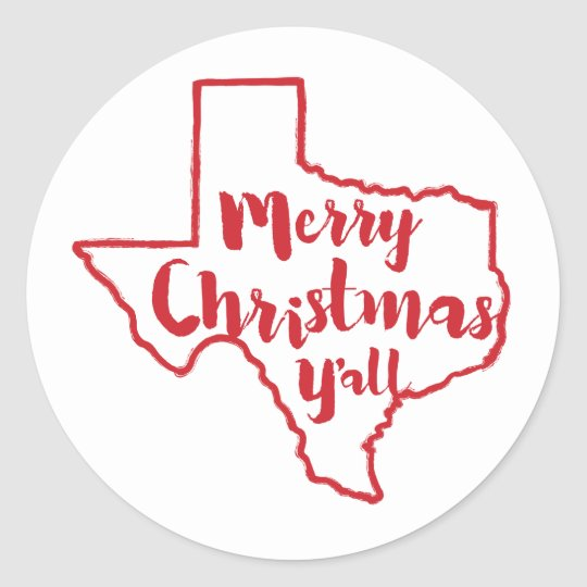 Merry Christmas Y'all Texas State Stickers