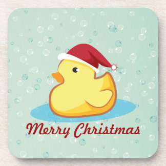 Merry Christmas yellow rubber duckie cork coaster
